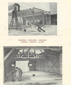 Mannen die een huis bouwen in 1949