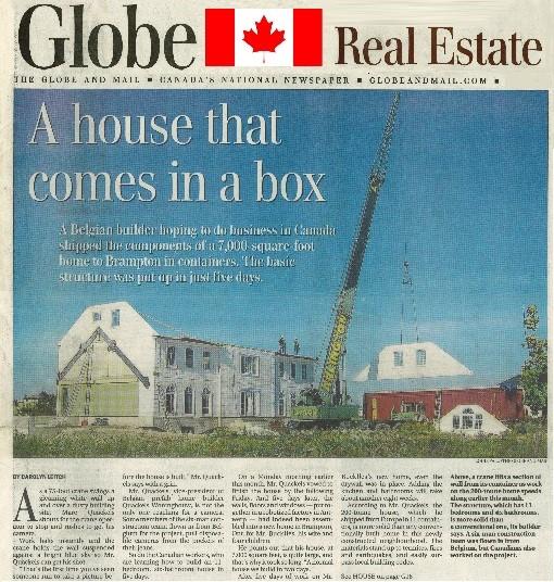 Canadees krantenartikel over Belgische Quackels Wonigbouw