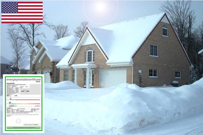 Ondergesneeuwde woning in Amerika gebouwd door de firma Quackels