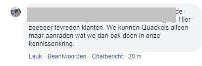 Facebook bericht voor Quackels Woningbouw van tevreden klant