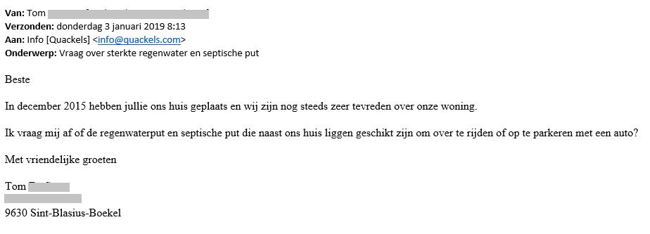 Brief van tevreden klanten van Quackels Woningbouw