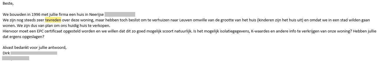 Bericht over tevredenheid over Quackels Woningbouw N.V.