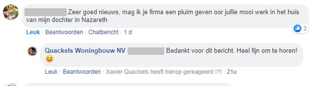 Facebook bericht voor Quackels Woningbouw van tevreden klant.