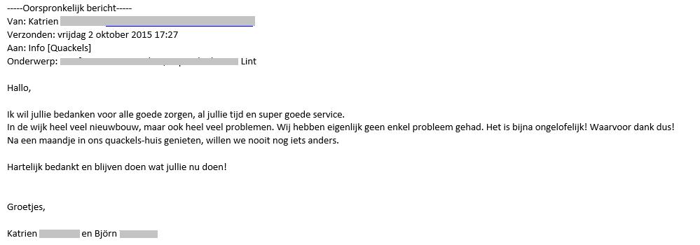 Brief van Katrien en Björn om Quackels Woningbouw N.V. te bedanken.