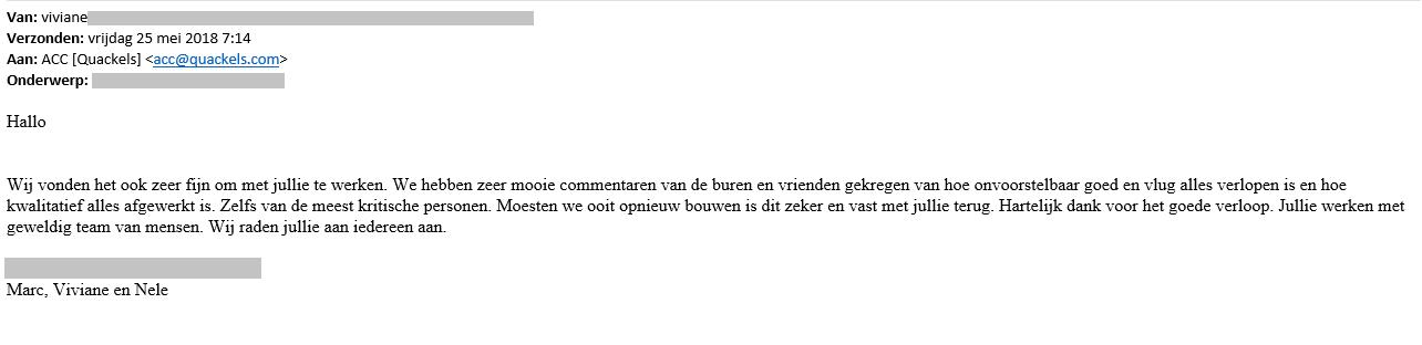 Bedankbrief voor Quackels Woningbouw van Viviane
